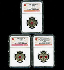 2004 P 2008 2010 CANADA 25 CENT NGC MS66 POPPY QUARTER RED LABEL 3 COIN SET RARE