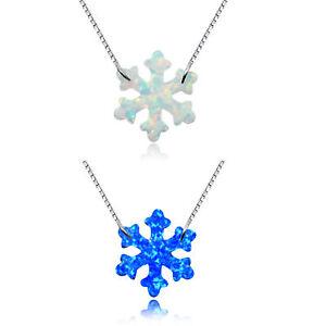 925 Silver Snowflake Design White&Blue Fire Opal Bib Pendant Choker Necklace !!