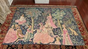 """Fetes Galantes - Rambouillet Silk Screened Medieval French Tapestry 76"""" x 55"""""""
