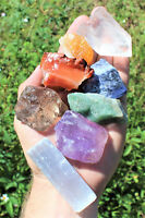 LARGE Chakra Natural Stones Set 7 Rough Crystals Raw Selenite Stick, Directions