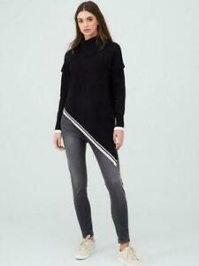 BNWT River Island Asymmetric Knitted Tunic Jumper Black Size L  Eu 4 Us L
