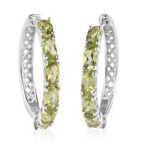 925 Sterling Silver Platinum Over Peridot Hoops Hoop Earrings Jewelry Ct 2.8