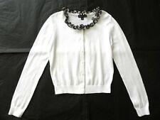 Aquascutum Girl's White Cardigan with Nova Silk Check Trim Age 7-8