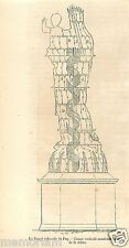 Vierge Colossale du Puy Coupe Vertical France GRAVURE ANTIQUE OLD PRINT 1862