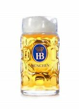 79445b94a46c Dimpled Glass Beer Stein Hofbrauhaus Munchen Traditional HB logo 1 Liter No  Box