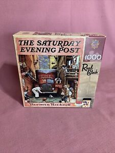 """The Saturday Evening Post Norman Rockwell """"Road Block 1000 Piece Square Puzzle 5"""