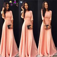 Women Ladies Half Sleeve Floor Length Dress Casual Loose Party Dress