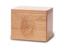 Wood Cremation Urn. Standard model with a Natural Finish and Flying Geese Image