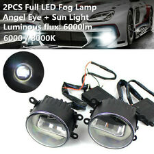 2PCS Full LED Fog Lamp Angel Eye + Sun Light Front Bumper Clear Lens for Honda