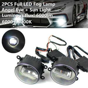 2PCS Full LED Car Fog Lamp Angel Eye + Sun Light Front Bumper Clear Lens Bulbs