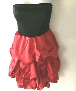 Prom Dress Ruffle Tiered Mini Bubble Formal Party Jrs S Red Strapless Black 80s