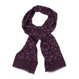 Isaia Plum Purple Floral Print Lightweight Cashmere and Wool Scarf NWT