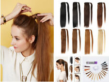 Clip in human hair pony tail Wrap around Ponytail silk Straight Hair Extension