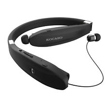 BLACK Retract Stereo Sport Headset Wireless Bluetooth Headphone Earbud Foldable