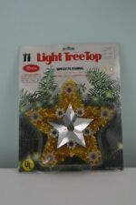 Vintage Roses Star Christmas Tree Top Topper Lights Gold Tinsel Flashing