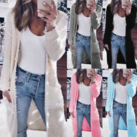 Women Long CARDIGAN Ripped Knitting Coat Outerwear Sweater Casual Lady Topcoat