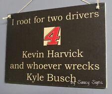 Kevin Harvick wrecks Kyle Busch Driver Sign Racing Bar Man Cave Tickets
