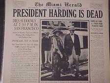 VINTAGE NEWSPAPER HEADLINE ~ U.S. PRESIDENT DEATH WARREN HARDING DEAD DIES 1923