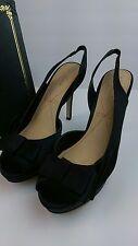 Pour la victoire 8.5 Black Satin Joya Ankle Strap High Heel Womens Shoes
