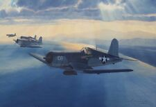 ORIGINAL WW2 AVIATION ART PAINTING F4U CORSAIR FIGHTER GROUP OVER PACIFIC WWII