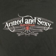 """Womens Sz XL Tee T Shirt Smith & Wesson """"Armed and Sexy"""" Black Fitted Bay Island"""