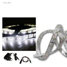 (13 €/m) luz LED banda set 2,4m frío-blanco, SMD-rayas + transformador, Flex barra de luz