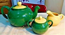 VINTAGE CALIFORNIA POTTERY TEA POT, SUGAR BOWL & CREAMER SET - GREEN & YELLOW