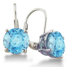 STERLING SILVER 5CT ROUND BLUE TOPAZ LEVERBACK DROP EARRINGS