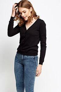 Ladies V Neck KulLadies Long Sleeve Fine Soft Knit Button Cardigan Tops 380