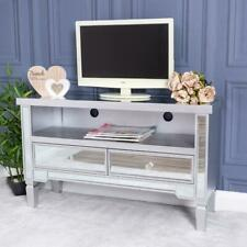 Silver Mirrored Television Cabinet TV Stand Unit Furniture Glass Chic Living