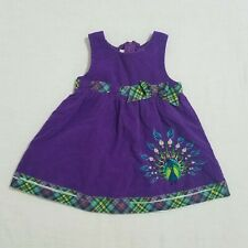 Bonnie Jean 2T Peacock Dress Purple Corduroy Embroidered Sleeveless