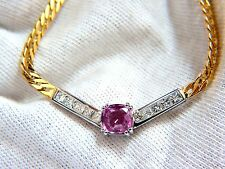 """█$9000 GIA 2.52ct NATURAL NO HEAT PINK SAPPHIRE DIAMONDS """"V"""" NECKLACE 14KT"""
