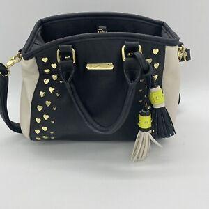 "Betsey Johnson White & Black Bag 10"" x 8"" Gold Heart Studded Multi Pocket Purse"