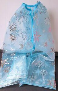 NEW  Childrens Ice blue silver snowflake elsa frozen net cape winter fancy dress