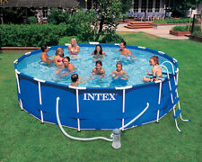 Pool Set Intex 18ft X 48in Metal Frame with Filter Pump, Ladder