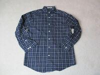 Orvis Button Up Shirt Adult Medium Blue Brown Plaid Long Sleeve Casual Men