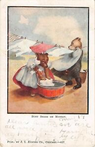 1907 Anthropomorphic PC-Dressed Bears Doing Laundry-Busy Bears on Monday-427