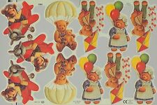 Chromo Le Suh Découpis Ours Nounours 1985 Embossed Illustrations Teddy Bear