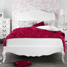JULIETTE Shabby Chic White Kingsize Bed, 5ft French bed,hand carved headboard