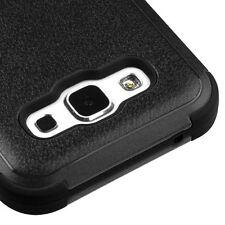 For SAMSUNG Galaxy E5 BLACK TUFF RUBBER SKIN COVER CASE + CLEAR SCREEN PROTECTOR
