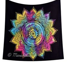 Black Ombre Wall Hanging Multi Color Mandala Tapestry Hippie Throw Wall Decor