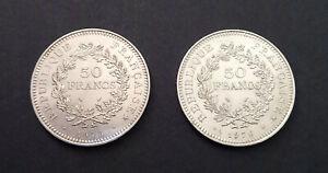 Lot 2 pièces 50 francs type Hercule, Argent 1975, 1976