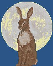 BN original cross stitch  chart of  a moon gazing hare 3