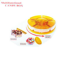 NEW MULTI FUNCTIONAL FOOD STORAGE PLASTIC CANDY BOX SEPARABLE ROTATING SET