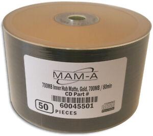 50-Pak MAM-A (Mitsui) GOLD/GOLD 52X 80-Min Archival CD-R's, Mitsui 45501