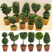 11 Types Artificial Plant Plastic Mini Tree Flower Pot Ornament Office Home UK