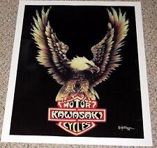 KAWASAKI Motorcycle Logo with Bald Eagle Biker Poster 1979 Patterson
