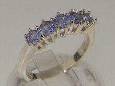 Tanzanite Natural White Gold Eternity Fine Rings