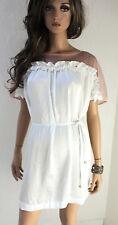 RINASCIMENTO Damen Kleid M L 38 40 Bindeband Netz Polyester weiß puder