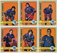 1972-73 Topps New York Rangers 6 Card Team Set EX to NM (031220)